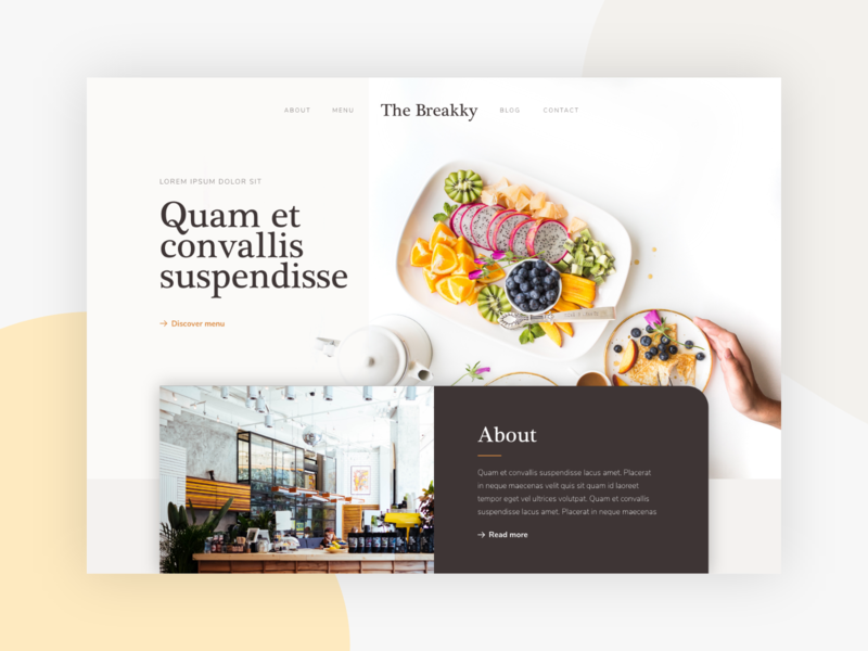 The Brekky minimalist template interface restaurant food ux ui webdesign coffee shop website