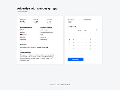 Sponsorstack - a platform for small newsletter advertising ui design frontend webdesign