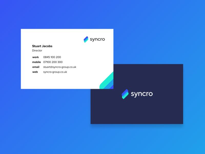 Syncro business cards vector branding design logo flat