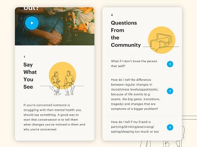 Be There UI Exploration visual design mobile app design mobile community line drawing youth faq mental health design web illustration exploration ui ui design