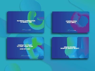Claimok Branding design cards colourful vibrant modern branding