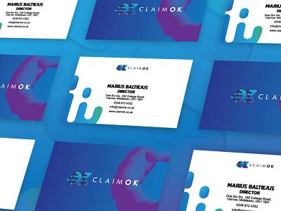 Claimok branding - business card brand identity branding card design bright colourful modern design