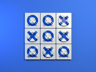 Azulejo Tic Tac Toe illustration wall game cross circle tic tac toe blue tiles tile 3d art 3d cinema 4d cinema4d