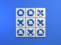 Azulejo Tic Tac Toe illustration wall game cross circle tic tac toe blue tiles tile 3d art 3d cinema 4d cinema4d