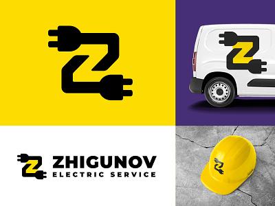 Zhigunov Electric Service electrical electrician repair plug letter z electricity electric identity branding logo