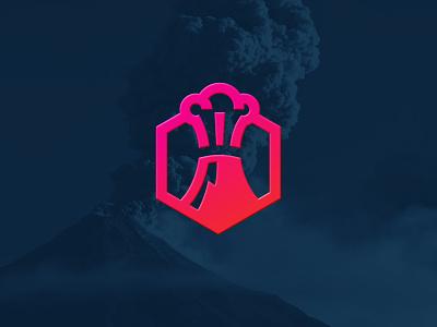 Excom logo blast eruption mountain hexagon volcano branding identity logo