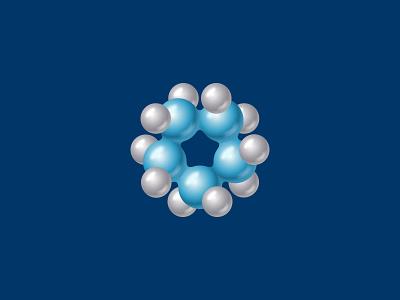 H2O logo chemistry sphere branding identity logo molecule h2o water