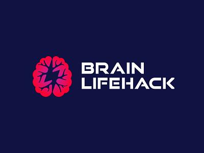 Brain Lifehack logo neuron brains brain lightning branding identity logo