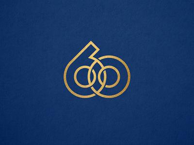 60 monogram zero 0 six 6 digit branding identity logo circle sixty 60