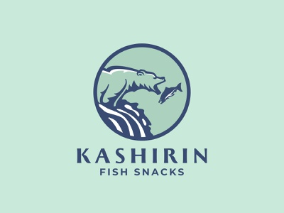 Kashirin logo snacks snack catch salmon waterfall fish bear branding identity logo