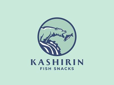 Kashirin logo snacks snack catch salmon waterfall fish bear branding identity logo