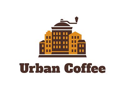 Urban Coffee logo logo coffee urban city grinder town street house brown