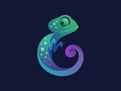 Emelion logo lizard clothing tailoring tail logo e gradient letter animal chameleon
