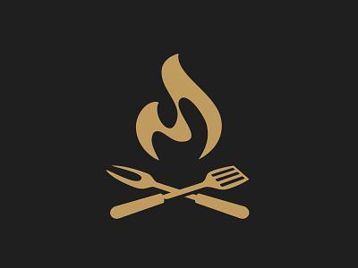 Grill Post 2 spatula fork bbq steakhouse restaurant meat logo grill bonfire fire