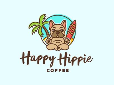 Happy Hippie logo bulldog buddha surf island palm puppy dog coffee