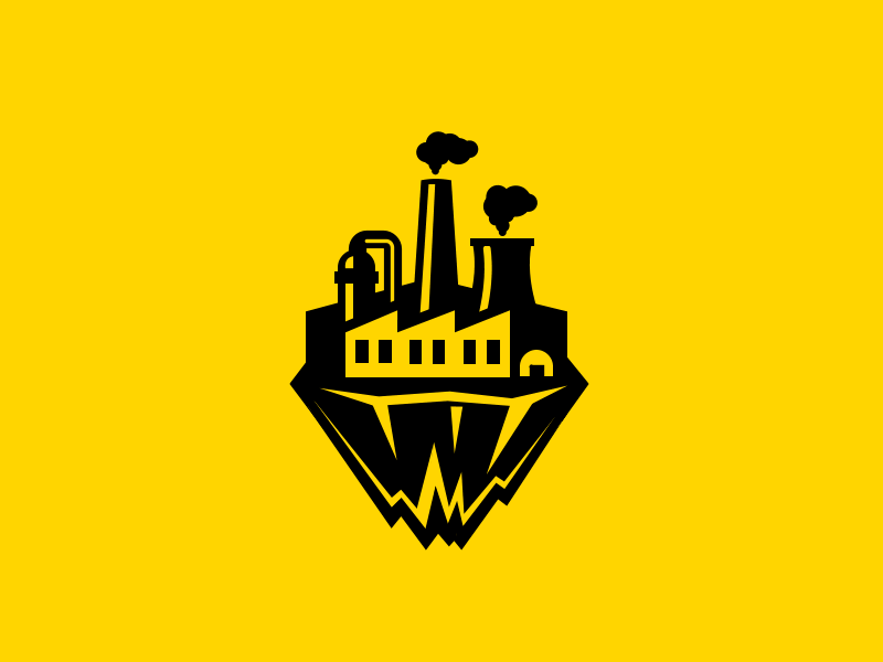 Height Industry plant chimney factory industrial mountain sky rock island alpinism logo