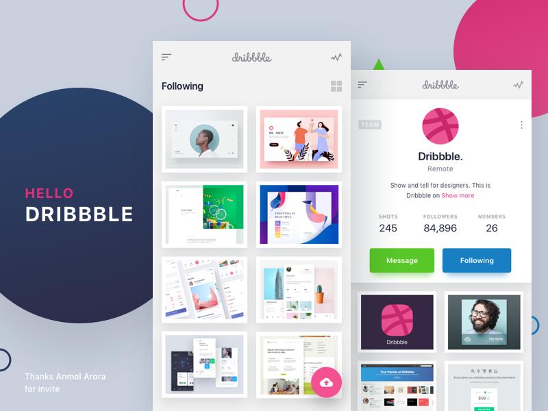 Hello Dribbble - Mobile app design concept android app design mobile minimal user interface application debut ui design ui ux mobile app dribbble app