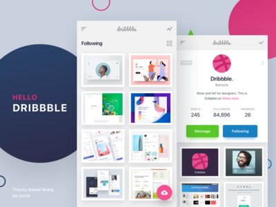 Hello Dribbble - Mobile app design concept
