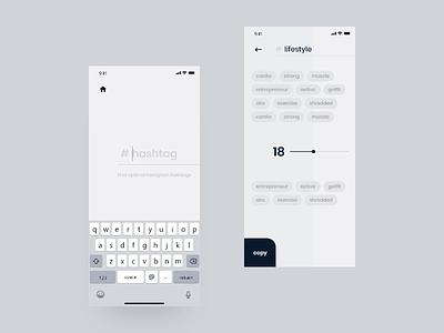 Design app ux / ui | Hashtags | Instagram | App animation mobile ios ux ui minimal clean app