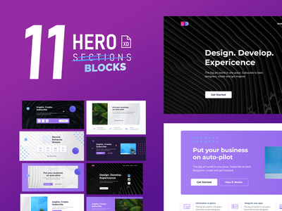 Free - 11 Unremakable Hero Blocks design editable file editable adobe xd adobexd hero section hero banner hero template design templates template vector digital creative