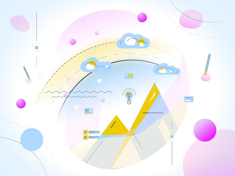 Client work - Illustration - learning steps/curve experimental concept knowledge learning digital vector creative illustration design