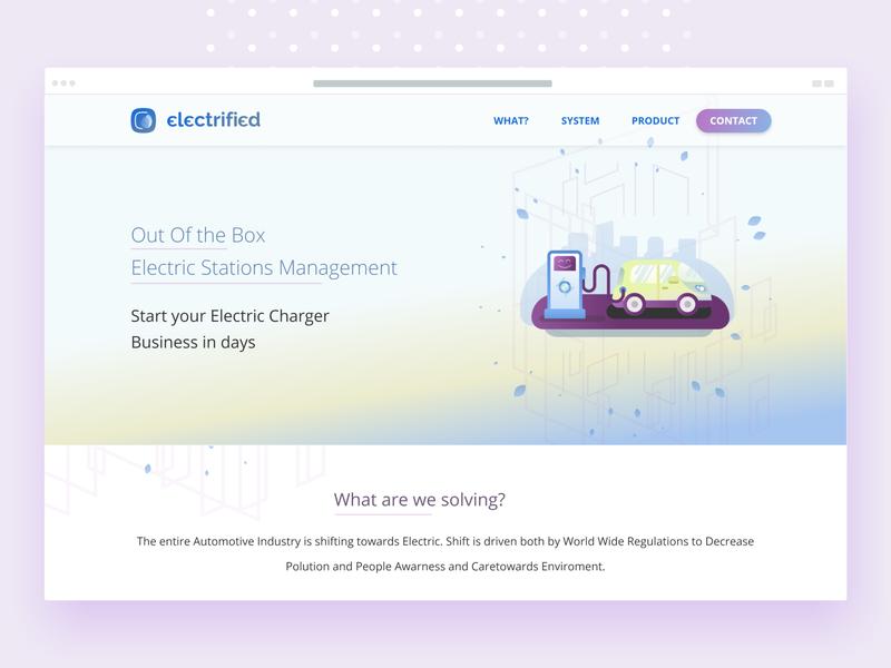 Electrified - client website (desktop version) design electric electricity vector website web design electric car