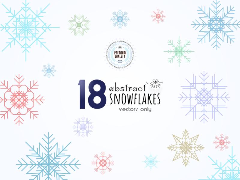 Free - 18 Abstract Snowflakes flat icon minimal abstract 2d digital creative vector design winter snowflake illustration
