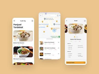 Street Food Mapping App UI Design Exploration mobile mapping location street food food app designux design ux graphic design ui