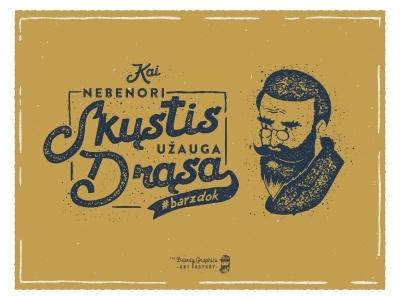 Illustration for Lithuanian No Shave November lithuania vintage poster man type beardman typography dont shave no shave moustache beard