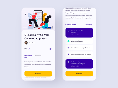 TangibleDash - Course Page course learning ux ui app mobile