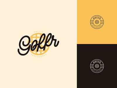 Goffr - Restaurant Branding - Logo Design color palette branding identity icon waffle food restaurant branding restaurant vintage handwritting stamp logo