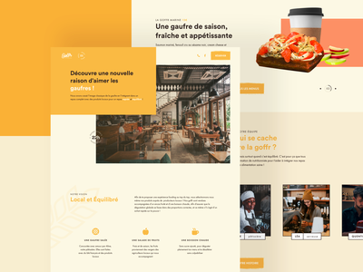 Goffr - Restaurant Website - Landing Page Design bakery healthy stamp website clean waffle yellow restaurant food home page landing page landing