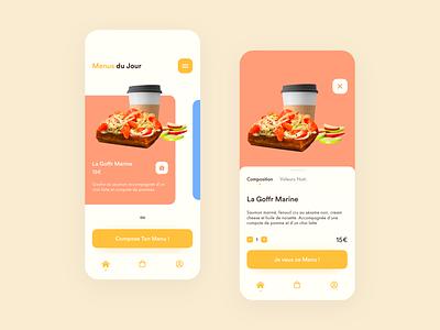 Goffr - Food Ordering App orange yellow minimalist healthy clean waffle restaurants mobile food app delivery restaurant food