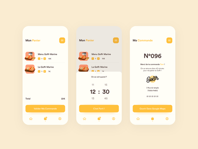 Goffr - Food Ordering App - Order Process app healthy delivery bakery yellow food and drink minimalist clean uber eat waffle restaurant process order checkout ux ui food app food