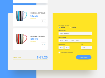 Daily UI challenge 02: Credit Card Checkout 002 credit card cup pop yellow ui helth dailyui