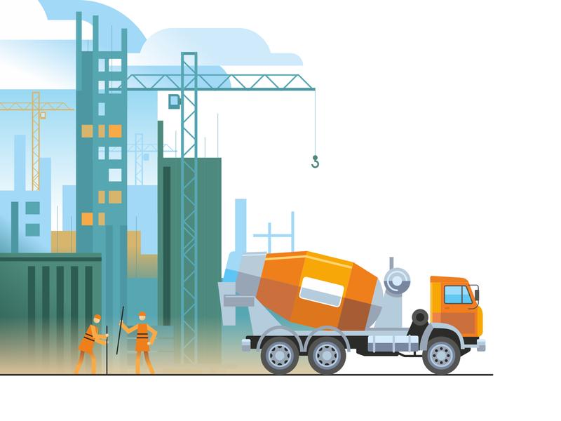 build builders kamaz construction building design vector illustration