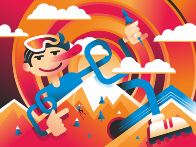 skier mountains skier design vector illustration