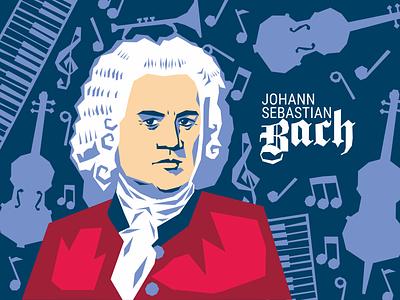 Bach bach music vector illustration