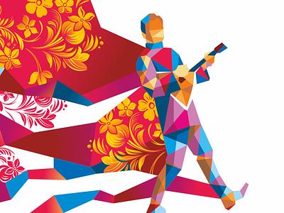 orchestra of Russian folk instruments music design vector illustration instruments folk russian orchestra