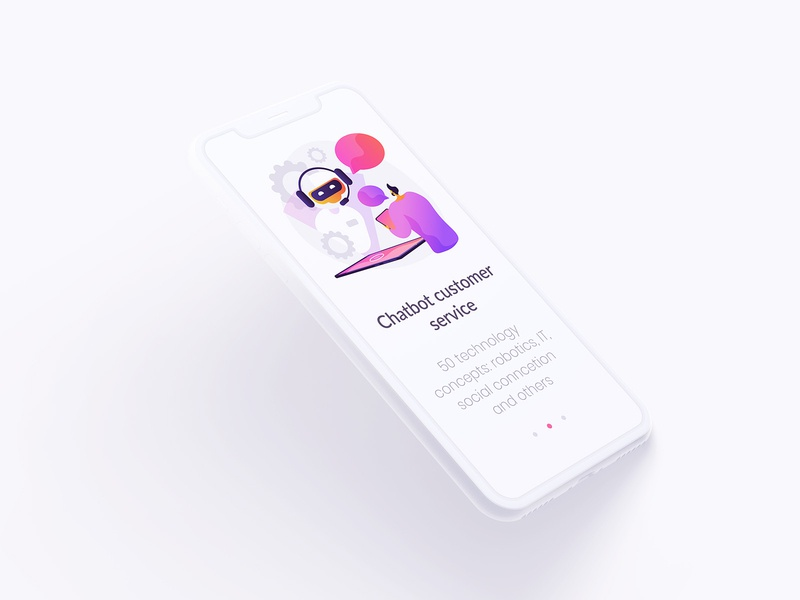 Tech illustrations for onboarding screens oboarding ui design chatbot technology character robot concept illustration ui elements concept uikits illustration vector
