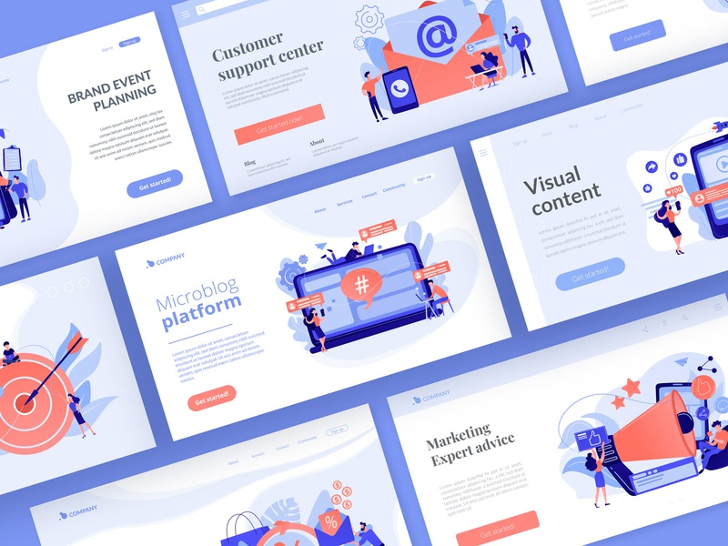 Marketing landing page templates templates web design ui ui elements vector uikits landing page landing illustration concept