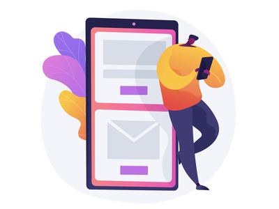 Mobile messaging animated concept animation web 4k animated design uiux illustraion ui uikits concept ui elements illustration vector