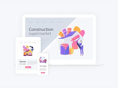 Construction illustration bundle ux landing page uiux vector concept illustration metaphor ui elements ui illustration concept