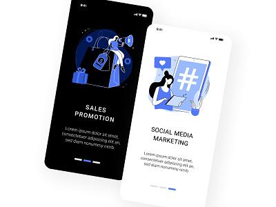 Digital marketing illustration set conceptual marketing dark mode digital marketing ux ui uiux concept uikits ui elements illustration