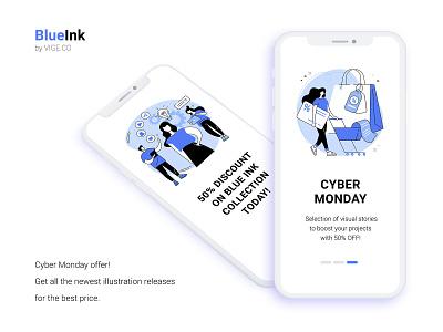 BlueInk CYBER MONDAY discount sale cyber monday ux ui elements flat uiux graphic ui design ui vector illustration concept