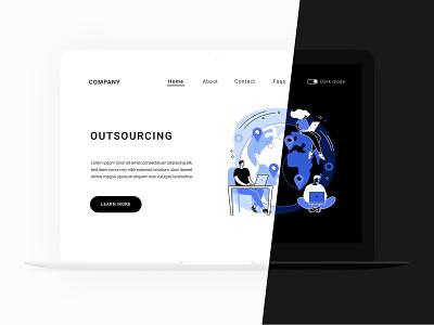 Business Illustration set remote work outsourcing app design webdesign landing page design workflow international minimal teamwork startup business uiux conceptual communication illustration ui concept vector