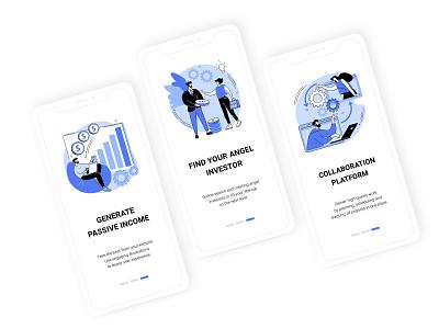Blue Ink collection. Business. minimal ui element start up app collaboration concept uiux ui app design vector illustration investment startup business