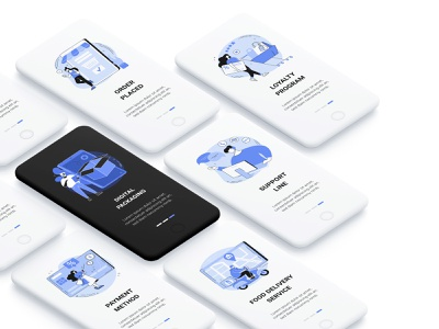 Blue Ink e-commerce and delivery illustration pack e-commerce shop e-commerce app ecomerce delivery app delivery app design web design dark ui dark mode concept design illustration ui vector