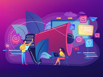 Marketing team work concept illustration vectorart isolated trendy violet ui elements vector ui uikits isometric design illustration isometric art graphic design ultraviolet concept isometric