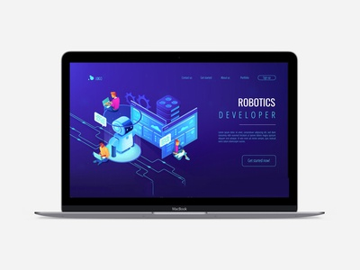 Isometric UV landing page. Robotics illustrations.
